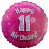 Luftballon aus Folie zum 11. Geburtstag, Rundballon, Mädchen, Zahl 11, inklusive Ballongas