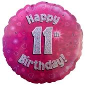 Luftballon aus Folie zum 11. Geburtstag, Happy 11th Birthday Pink