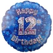 Luftballon aus Folie zum 12. Geburtstag, blauer Rundballon, Junge, Zahl 12, inklusive Ballongas