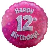 Luftballon aus Folie zum 12. Geburtstag, Happy 12th Birthday Pink