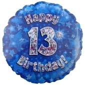 Luftballon aus Folie zum 13. Geburtstag, blauer Rundballon, Junge, Zahl 13, inklusive Ballongas