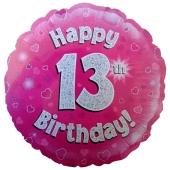 Luftballon aus Folie zum 13. Geburtstag, Happy 13th Birthday Pink