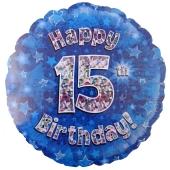 Luftballon aus Folie zum 15. Geburtstag, Happy 15th Birthday Blue