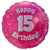 Luftballon aus Folie zum 15. Geburtstag, Rundballon, Mädchen, Zahl 15, inklusive Ballongas