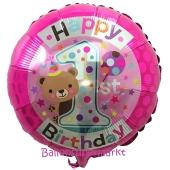 Happy 1st Birthday Teddy, Pink ohne Helium
