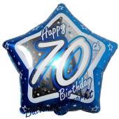 Luftballon aus Folie mit Helium, Happy Birthday Blue Star 70, zum 70. Geburtstag