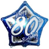 Luftballon aus Folie mit Helium, Happy Birthday Blue Star 80, zum 80. Geburtstag