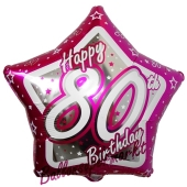 Luftballon aus Folie mit Helium, Happy Birthday Pink Star 80, zum 80. Geburtstag
