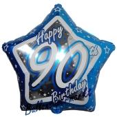 Luftballon aus Folie mit Helium, Happy Birthday Blue Star 90, zum 90. Geburtstag