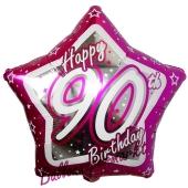 Luftballon aus Folie mit Helium, Happy Birthday Pink Star 90, zum 90. Geburtstag