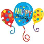 Happy Birthday Cluster Folienballon zum Geburtstag, Balloon Bash, ohne Helium