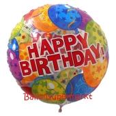 Großer runder Luftballon, Happy Birthday Balloons zum Geburtstag, Ballon ohne Helium