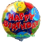 Geburtstags-Luftballon Balloons & Confetti Happy Birthday, ohne Helium-Ballongas