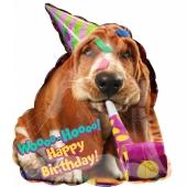 Happy Birthday Basset Hund Luftballon zum Geburtstag mit Helium Ballongas