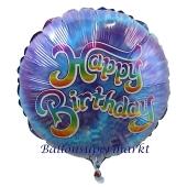 Batik blau Happy Birthday, Luftballon zum Geburtstag mit Helium