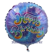 Geburtstags-Luftballon Batikdesign Happy Birthday, ohne Helium-Ballongas