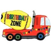 Luftballon Birthday Zone Betonmischer zum Geburtstag, ohne Helium