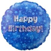 Happy Birthday Blau, Luftballon zum Geburtstag mit Helium