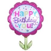 Blume Happy Birthday to You Folienballon zum Geburtstag mit Helium