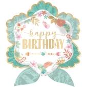 Luftballon Happy Birthday Boho zum Geburtstag, ohne Helium