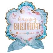 Happy Birthday Boho Luftballon zum Geburtstag mit Helium Ballongas