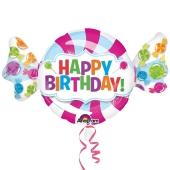 Bonbon-Luftballon, Happy Birthday zum Geburtstag, ohne Helium