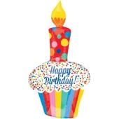 Brght Happy Birthday Cupcake Luftballon zum Geburtstag mit Helium Ballongas