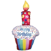 Luftballon Bright Happy Birthday Cupcake zum Geburtstag, ohne Helium