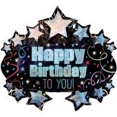 Brilliant Birthday Marquee, holografischer Luftballon zum Geburtstag mit Helium