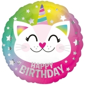 Luftballon Einhorn Katze Happy Birthday, ohne Helium