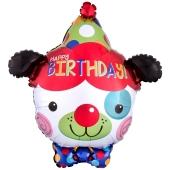 Luftballon Happy Birthday Clown-Hund zum Geburtstag, ohne Helium