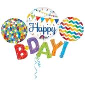Happy B'Day Multi Folienballon zum Geburtstag, ohne Helium