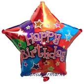 Stern, Happy Birthday Colors, Luftballon zum Geburtstag mit Helium