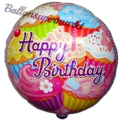 Happy Birthday Cupcakes, Luftballon zum Geburtstag mit Helium