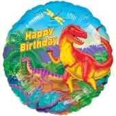 Happy Birthday Dinosaurier, Luftballon aus Folie zum Geburtstag, ohne Helium