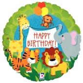 Happy Birthday Jungle Animals, Holografischer Luftballon aus Folie zum Geburtstag, ohne Helium