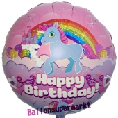 Einhorn Happy Birthday, holografisch, runder Luftballon aus Folie, ungefüllt