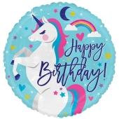 Einhorn Happy Birthday, runder Luftballon aus Folie, ungefüllt