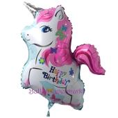 Einhorn-Luftballon, Happy Birthday zum Geburtstag, ohne Helium