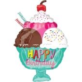 Happy Birthday eisbecher mit Sahne, Folienballon zum Geburtstag