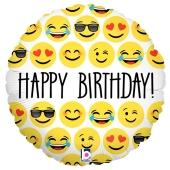 Happy Birthday, Luftballon zum Geburtstag mit Emojis