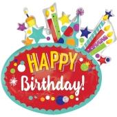 Happy Birthday Geburtstagsballon, Festlich, Shape, ungefüllt