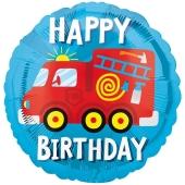 Happy Birthday Feuerwehrauto, Luftballon aus Folie mit Helium
