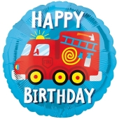 Luftballon Feuerwehrauto Happy Birthday, ohne Helium