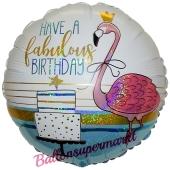 Flamingo Happy Birthday, holografischer Luftballon zum Geburtstag mit Helium