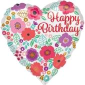 Geburtstags-Herzluftballon Happy Birthday Floral, ohne Helium-Ballongas