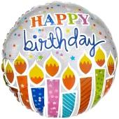 Geburtstagskerzen Happy Birthday, holografischer Luftballon zum Geburtstag mit Helium