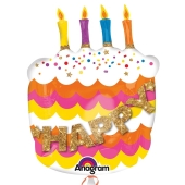 Happy Birthday Geburtstagsballon, Geburtstagstorte, Shape