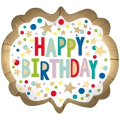Happy Birthday Gold Satin Dots, Luftballon zum Geburtstag mit Helium Ballongas