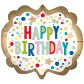 Happy Birthday Gold Satin Dots zum Geburtstag, ohne Helium
